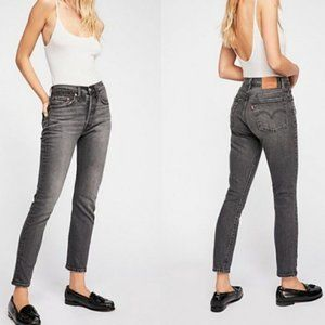 Levi's 501 High Rise Skinny Gray Black Jeans 30